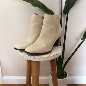 Franco Sarto • Cream Block Heel Ankle Booties